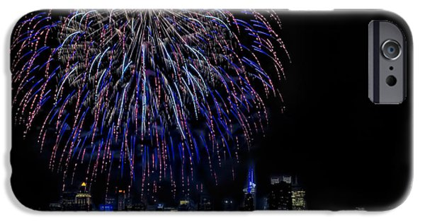 July 4th iPhone Cases - Fireworks In New York City iPhone Case by Susan Candelario