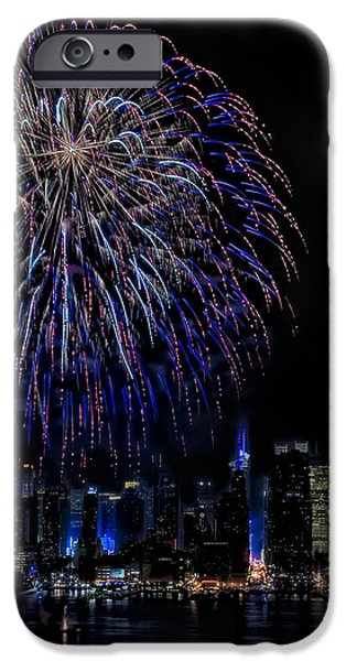 Fireworks In New York City iPhone Case by Susan Candelario