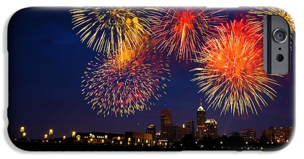 Fireworks iPhone Cases - Fireworks in the City iPhone Case by Alexey Stiop