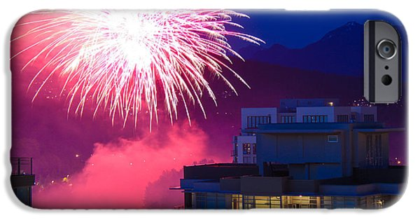 Independance Day iPhone Cases - Fireworks in the City iPhone Case by Nancy Harrison