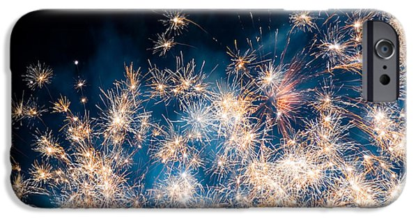 Blue Fireworks iPhone Cases - Fireworks in the Sky iPhone Case by Gianfranco Weiss