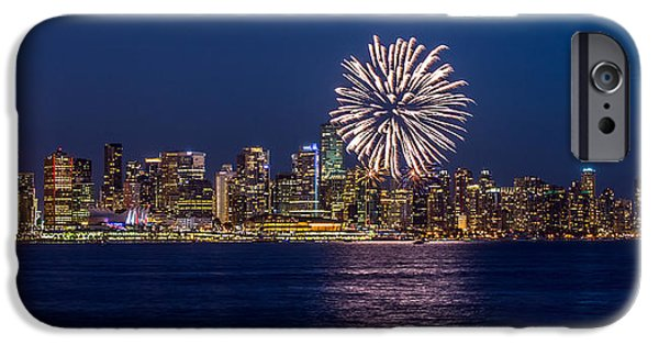 Fireworks iPhone Cases - Fireworks in Vancouver city iPhone Case by Pierre Leclerc Photography