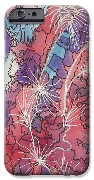 4th July Paintings iPhone Cases - Fireworks  iPhone Case by Lorita Montgomery
