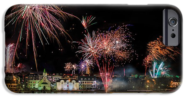 Fireworks iPhone Cases - Fireworks On New Years Eve, Reykjavik iPhone Case by Panoramic Images