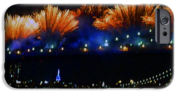 Fireworks iPhone Cases - Fireworks On The Brooklyn Bridge iPhone Case by Kendall Eutemey