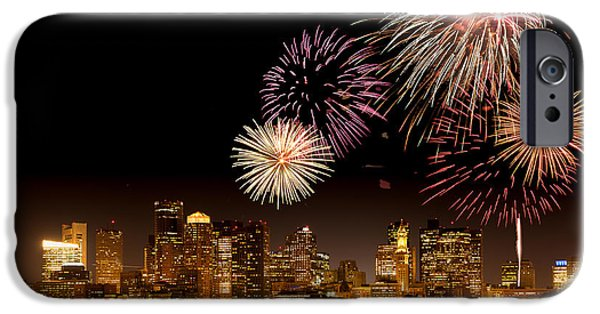 4th July iPhone Cases - Fireworks over Boston Harbor iPhone Case by Susan Cole Kelly