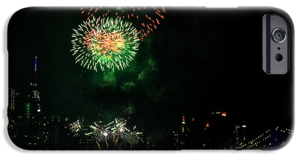 July 4th iPhone Cases - Fireworks over Brooklyn Bridge and New York City iPhone Case by Diane Lent