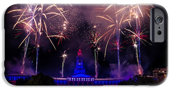 4th July Photographs iPhone Cases - Fireworks Over Denver City and County Building iPhone Case by Teri Virbickis