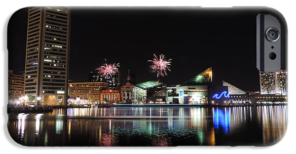 Constellations iPhone Cases - Fireworks over Downtown Baltimore iPhone Case by Cityscape Photography