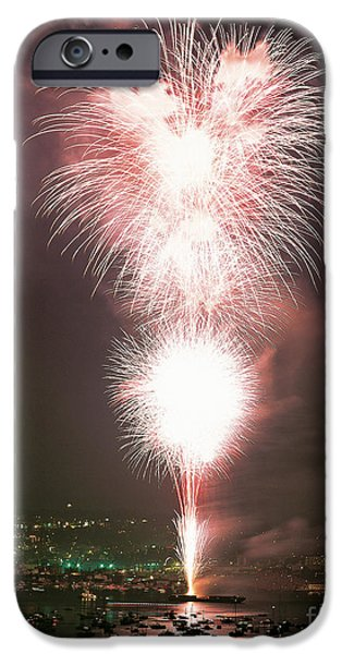 Fireworks iPhone Cases - Fireworks Over Seattle iPhone Case by Jim Corwin