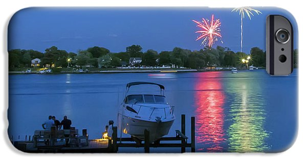 Creek iPhone Cases - Fireworks Over Stony Creek iPhone Case by Brian Wallace