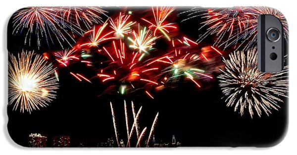 4th July Photographs iPhone Cases - Fireworks over the Delaware iPhone Case by Nick Zelinsky