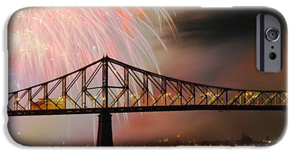 Fireworks iPhone Cases - Fireworks Over The Jacques Cartier iPhone Case by Panoramic Images