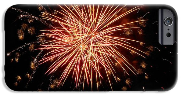 Fireworks iPhone Cases - Fireworks Over the Lake 43 iPhone Case by Dawn