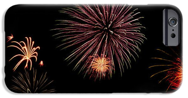 4th July Digital Art iPhone Cases - Fireworks Panorama iPhone Case by Bill Cannon