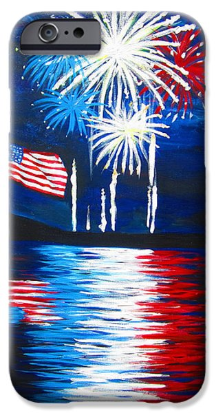4th July Paintings iPhone Cases - Fireworks iPhone Case by Tracey Bautista