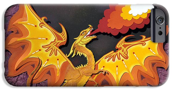 Paper Sculptures iPhone Cases - Firey Dragon iPhone Case by John Hebb