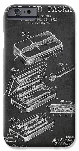 Surgery iPhone Cases - First Aid Package Patent from 1917 - Charcoal iPhone Case by Aged Pixel