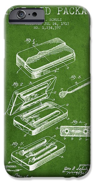 First iPhone Cases - First Aid Package Patent from 1917 - Green iPhone Case by Aged Pixel