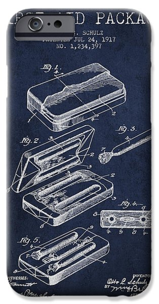 Firsts iPhone Cases - First Aid Package Patent from 1917 - navy Blue iPhone Case by Aged Pixel