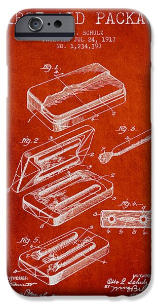 Firsts iPhone Cases - First Aid Package Patent from 1917 - red iPhone Case by Aged Pixel