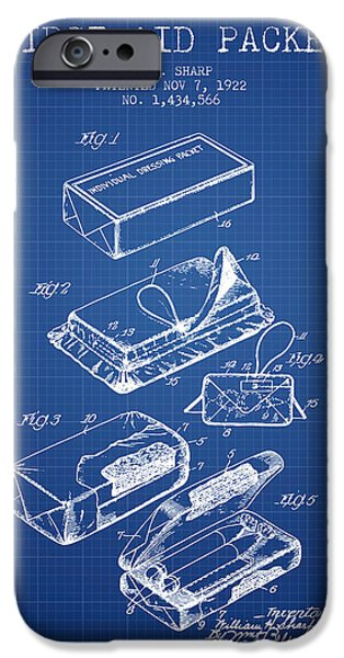 Firsts iPhone Cases - First Aid Packet Patent from 1922 - Blueprint iPhone Case by Aged Pixel