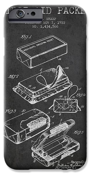 Firsts iPhone Cases - First Aid Packet Patent from 1922 - Charcoal iPhone Case by Aged Pixel