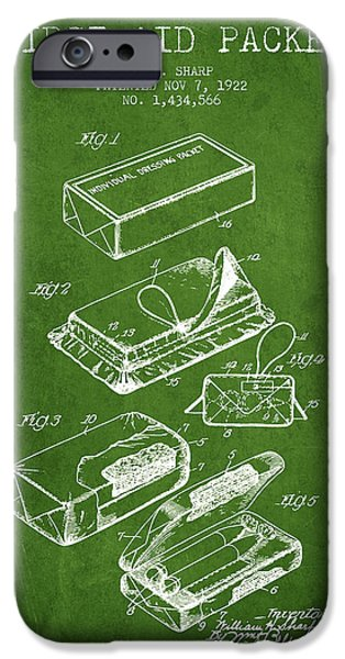 Firsts iPhone Cases - First Aid Packet Patent from 1922 - Green iPhone Case by Aged Pixel
