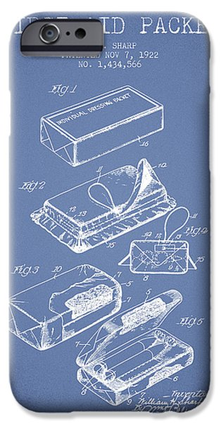 Surgery iPhone Cases - First Aid Packet Patent from 1922 - Light Blue iPhone Case by Aged Pixel