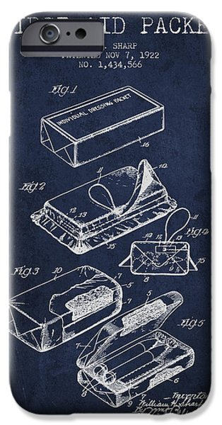 Firsts iPhone Cases - First Aid Packet Patent from 1922 - Navy Blue iPhone Case by Aged Pixel