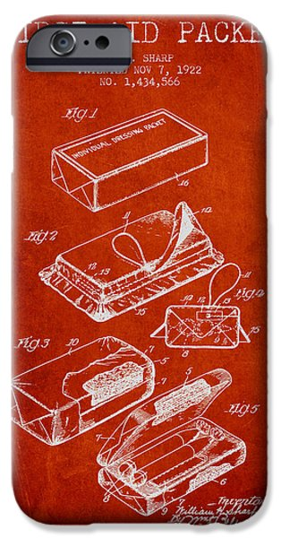 Firsts iPhone Cases - First Aid Packet Patent from 1922 - Red iPhone Case by Aged Pixel