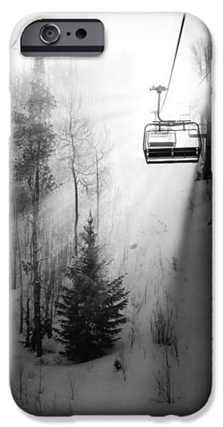 Skiing iPhone Cases - First Chair iPhone Case by Sean McClay