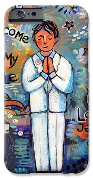 Religious iPhone Cases - First Communion Boy iPhone Case by Jen Norton