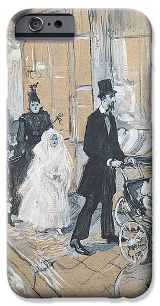 Shop Window iPhone Cases - First Communion Day, 1888 Grisaille On Cardboard iPhone Case by Henri de Toulouse-Lautrec