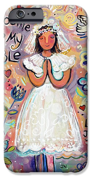 Jesus iPhone Cases - First Communion Girl iPhone Case by Jen Norton