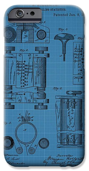 Technology Drawings iPhone Cases - First Computer Blueprint Patent iPhone Case by Dan Sproul