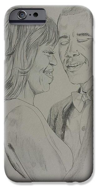 Recently Sold -  - Michelle Obama Drawings iPhone Cases - First Dance iPhone Case by DMo Herr