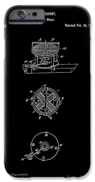 FIRST ELECTRIC MOTOR 2 PATENT ART 1837 iPhone Case by Daniel Hagerman
