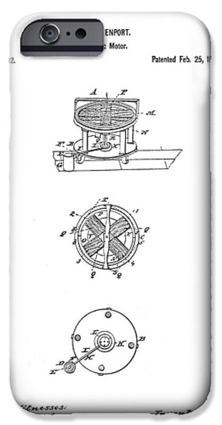 FIRST ELECTRIC MOTOR PATENT ART 1837 iPhone Case by Daniel Hagerman