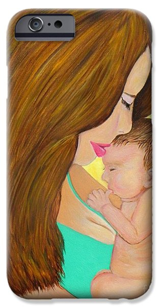 First Lady iPhone Cases - First Kiss- Mother and Newborn Baby iPhone Case by Shelia Kempf