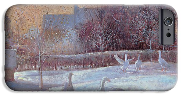 Geese iPhone Cases - First Light, 1994 Oil On Canvas iPhone Case by Timothy Easton