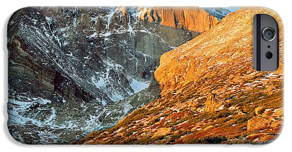 Lady Washington iPhone Cases - First Light at Longs Peak iPhone Case by Eric Glaser