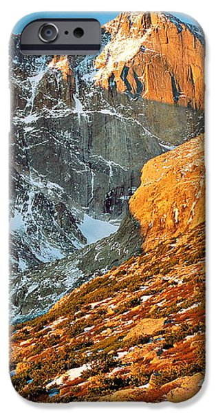 First Light at Longs Peak iPhone Case by Eric Glaser