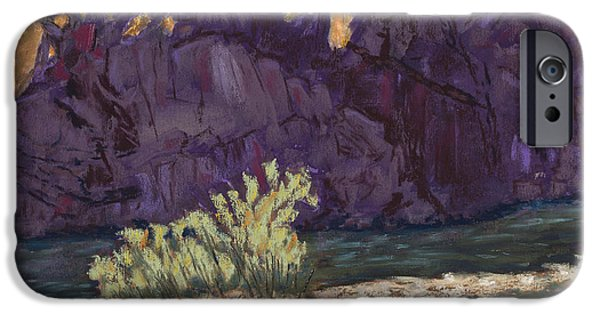 Rust Pastels iPhone Cases - First Light at Picnic Rock iPhone Case by Mary Benke