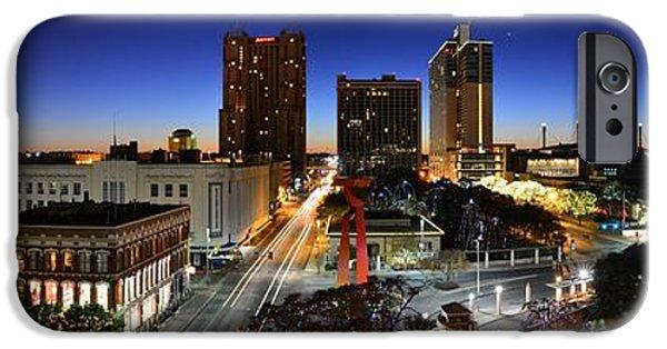 The Americas iPhone Cases - First Light on San Antonio Skyline - Texas iPhone Case by Silvio Ligutti