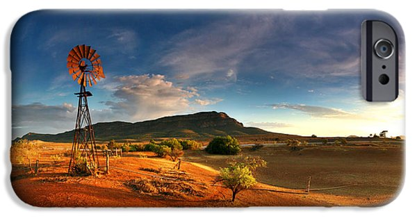 Harsh iPhone Cases - First Light on Wilpena Pound iPhone Case by Bill  Robinson