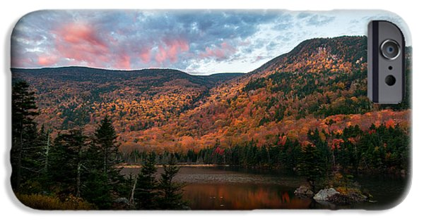 New Hampshire Fall Scenes iPhone Cases - Beaver Pond Sunrise-Kinsman Notch New Hampshire iPhone Case by Thomas Schoeller