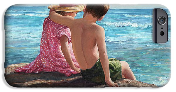 Sisters Paintings iPhone Cases - First Love by the Seashore iPhone Case by Laurie Hein