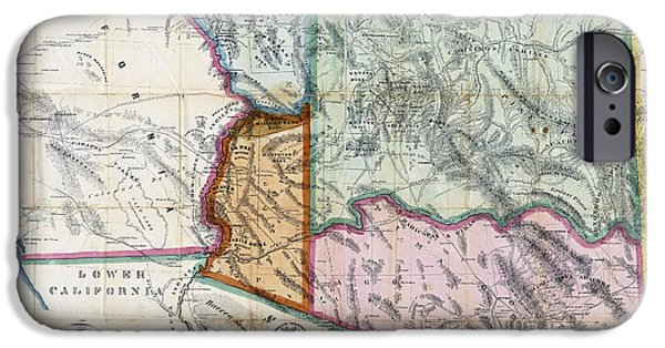 Old Map Digital iPhone Cases - FIRST MAP of ARIZONA TERRITORY  1865 iPhone Case by Daniel Hagerman