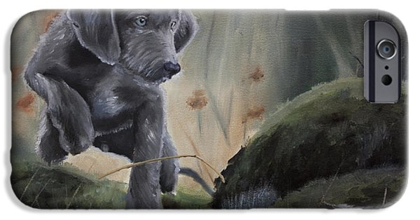 Weimaraner Puppy iPhone Cases - First point iPhone Case by Paul Francev